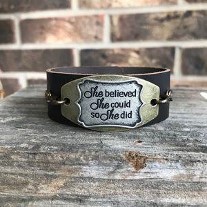 Jewelry - Inspirational cuff bracelet- faux leather